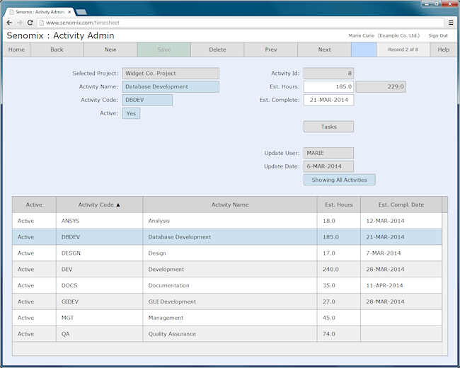 activity administration screen