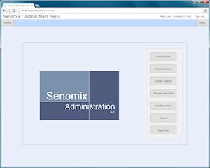 Senomix admin main menu