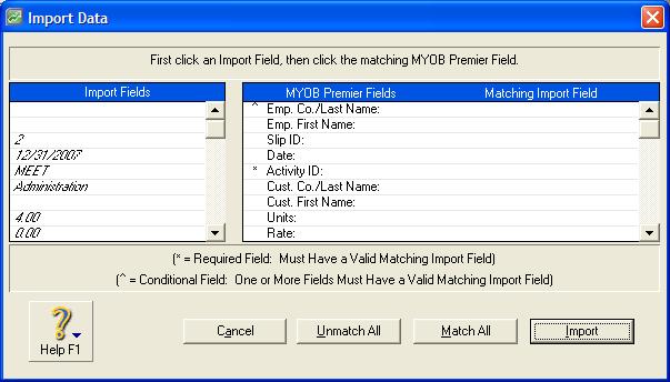 myob import dialog