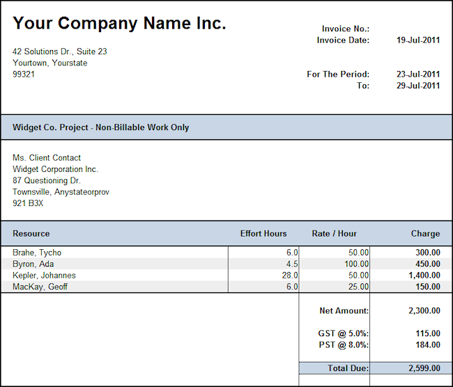 non-billable invoice