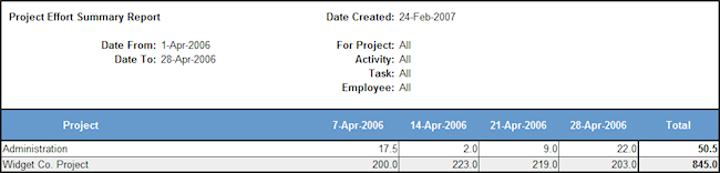 project effort summary report