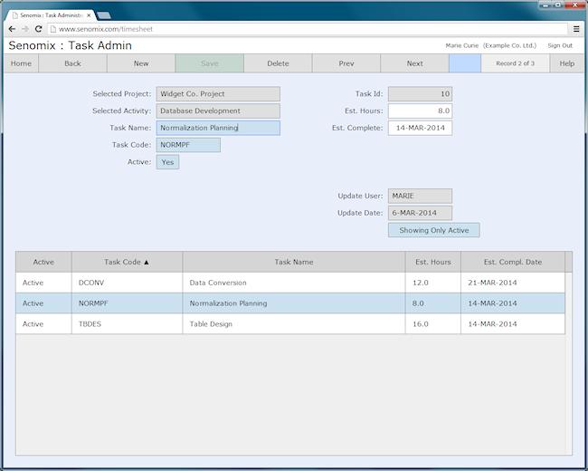 task administration screen