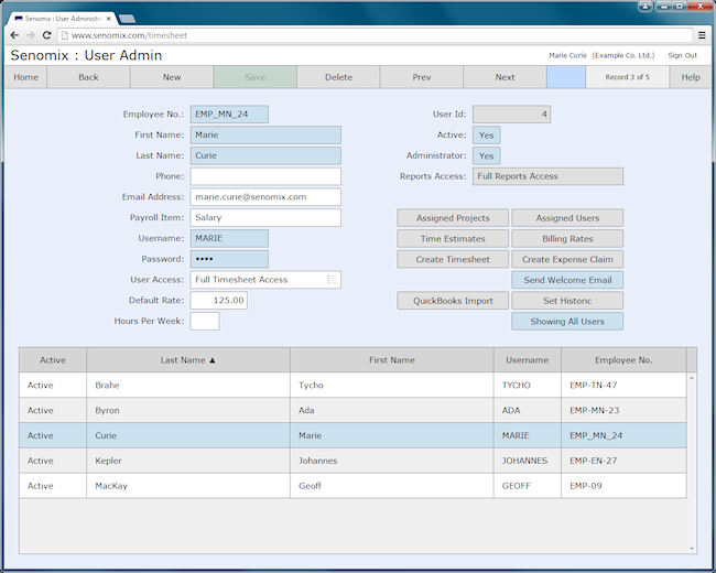 user administration screen