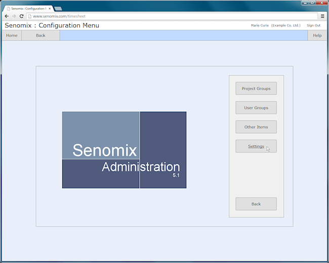 Senomix admin main settings