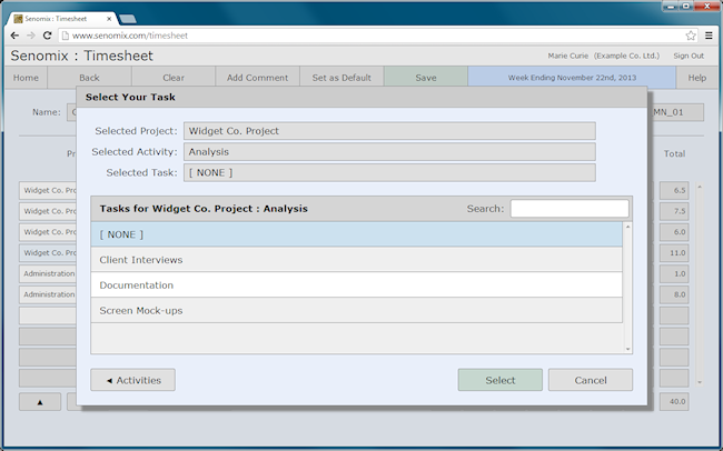 Timesheet task selection