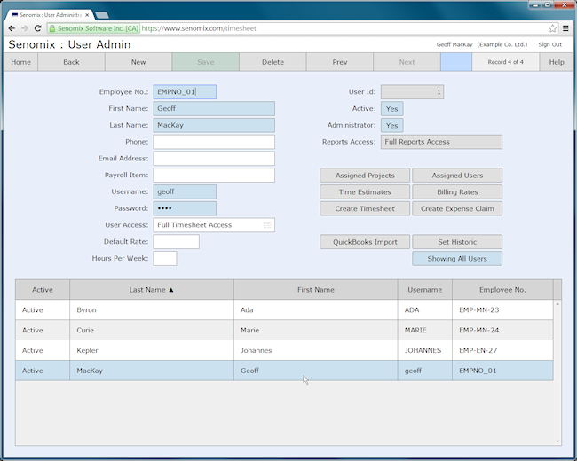 Senomix admin user screen