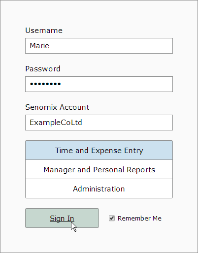 Signing in to senomix account