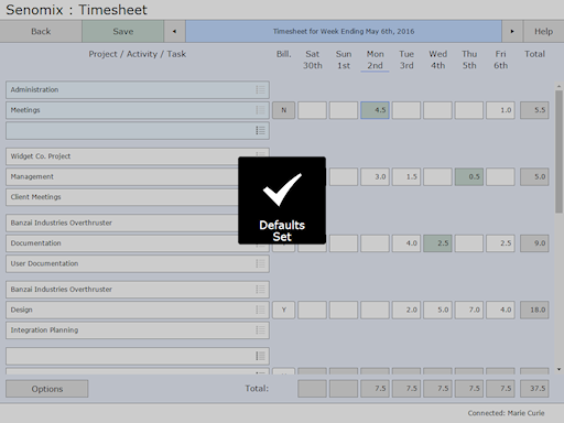Timesheet defaults set