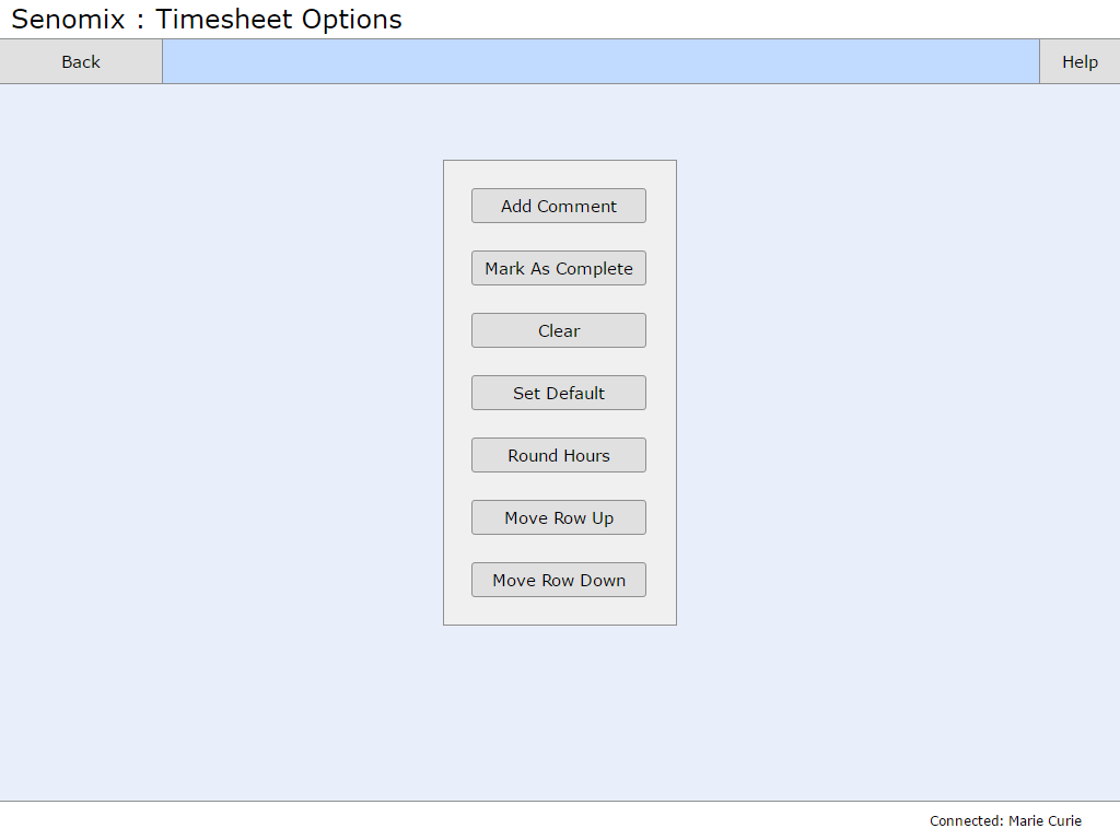 Timesheet options