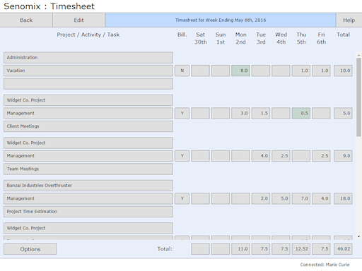 Read-only timesheet