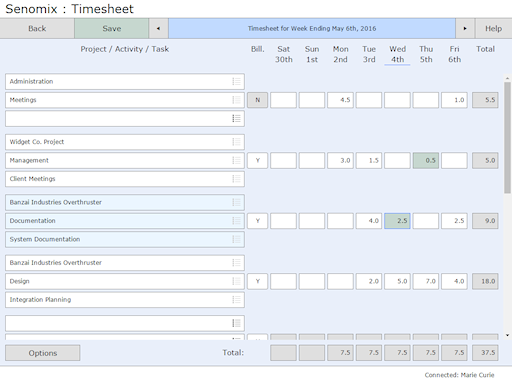 Timesheet task selected