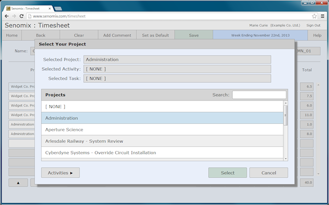 projects selector
