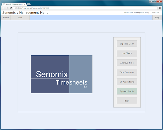 Senomix time and expense entry management sub-menu screen