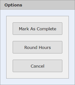 Timesheet Options dialog