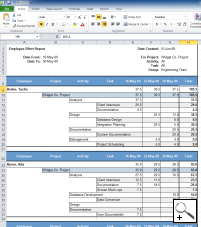 Create Microsoft Excel timesheet reports