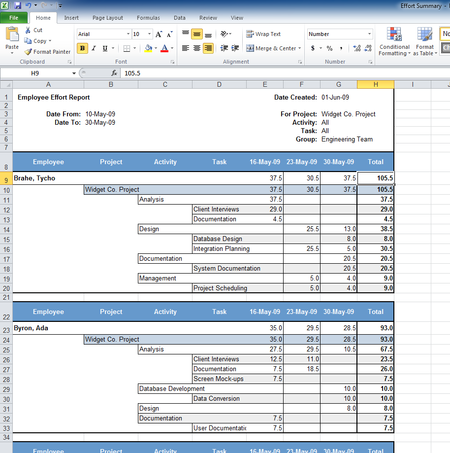 creating reports in excel